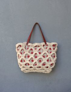 Gingham Crocheted Bag, Red and Cream with Leather Straps, Large Shoulder Bag