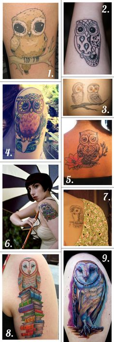 owl tattoos... the bald, black eyed chick!  Love.