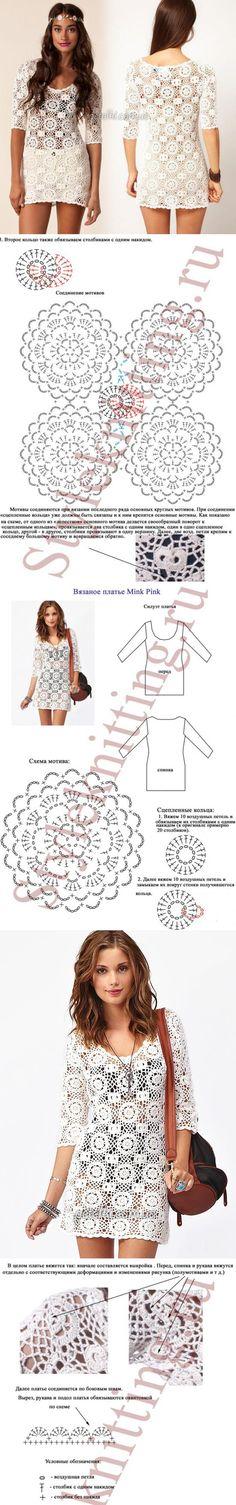 Кружевное платье мотивами от Mink Pink. Схемы, описание вязания | топы кофты жакеты | Постила