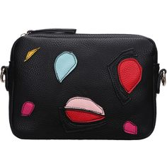 SheIn(sheinside) Black Zipper Patch PU Bag ($9.94) ❤ liked on Polyvore featuring bags, handbags, sheinside, black, zipper handbag, patch purse, pu handbag, zipper purse and pu purse