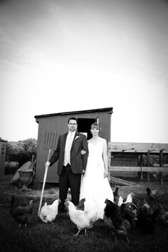 Black and White Wedding Photo Bride and Groom and CHickens and Pitch Fork