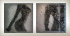 His & Hers Wall Sculpture, Metal Nails by Katia