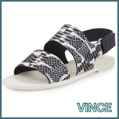 """NWB Vince Sorce Snake Skin Embossed Leather NWB Vince Sorce Leather embossed-Snakeskin Slingback Sandals, Charcoal/White, .5"""" Stacked Heal Double-Strap Vamp Grip Slingback, Rubber out sole  Most places  totally out, retail price $195/ last sale price $120❤️❤️ Comes with Dust Bag Vince Vince Shoes Sandals"""