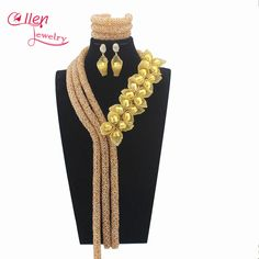 2017 Luxury gold Nigerian wedding bridal beads necklace African accessories beads jewelry sets dubai beaded jewelry sets W13304 #Affiliate