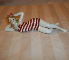 "Vintage Porcelain Germany Red White Swimsuit Bathing Beauty 5 1 2"" Doll Figurine 