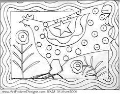 art pattern rug hooking, mshaw-folkart.com star hen on linen