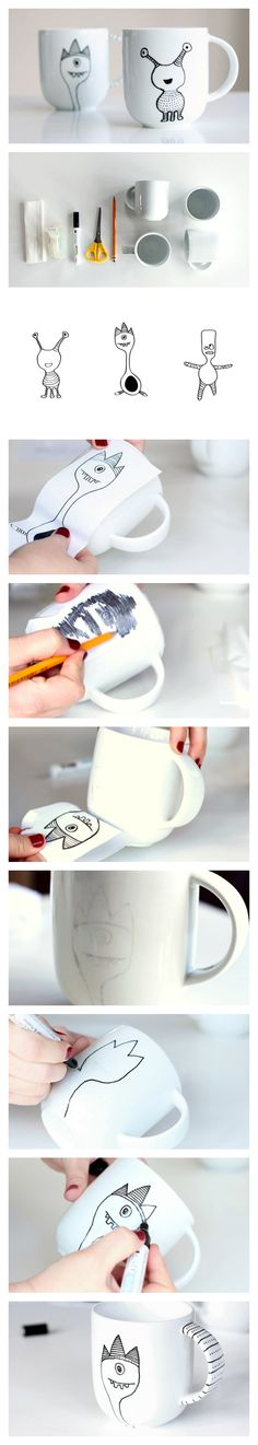 The best DIY projects & DIY ideas and tutorials: sewing, paper craft, DIY. DIY Gifts Ideas 2017 / 2018 Learn how to decorate a coffee mug with a porcelain marker. Diy Projects To Try, Craft Projects, Diy Becher, Fun Crafts, Diy And Crafts, Marker Crafts, Diy Mugs, Ideias Diy, Crafty Craft