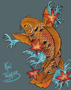 Japanese Maple Leaf Tattoo | Personal tattoo design - koi (carp), japanese maple leafs and waves.