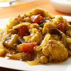 The garam masala in this Indian-spiced eggplant and cauliflower stew is a flavorful, fragrant blend of dry-roasted ground spices.