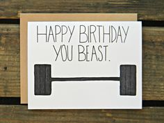Perfect card to say Happy Birthday to that crossfit beast in your life!!  ------------------------------------------------------------------------------------------------- Product Detail ------------------------------------------------------------------------------------------------- - Card Measures 4.3 x 5.75 inches.  - Blank inside to personalize.  - 1 envelope included.  - Packaged in protective re-sealable sleeve.   ***Interested in Purchasing Wholesale Check Out My Wholesale Linesheet…
