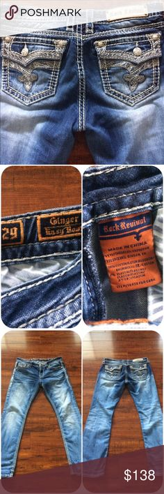 Rock Revival Jeans From Buckle, RR Ginger Easy boot, Beautiful Embellishments on these jeans. Everything all in tacked. Worn a 2x. These are too Stunning to be laying in the dresser, needs a new home! Rock Revival Jeans Boot Cut