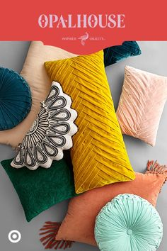 Love these bright bold colors and fabrics of these pillows. Velvet, tufted and tasseled. Perfect for spring or summer. Target Pillows, Room Goals, Smart Tiles, Home And Living, Living Room, Custom Pillows, Color Inspiration, Home Design, Colorful Throw Pillows