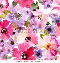 Seamless wallpaper with summer flowers. Watercolor painting