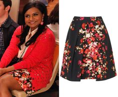 "Mindy wears this floral print skirt with her crystal studded cardigan in ""Danny and Mindy"". /// L.K.Bennett Leticia Optic Floral Skirt (was $295..."