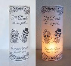 20 Personalized Sugar Skull, Day of the dead, Wedding Centerpiece Table Decoration Luminaries - My Sugar Skulls