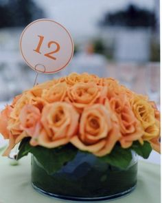 Contemporary Table Card  Modern circular table numbers perfectly match the centerpieces where they are perched.