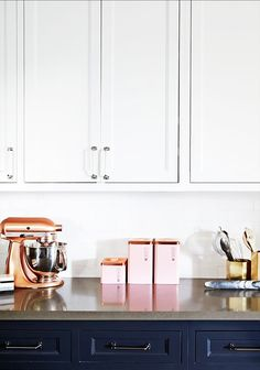 copper + pink in the kitchen