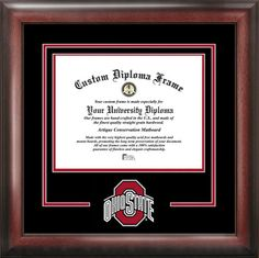 Ohio State University Diploma Frame - College Logo - Spirit Mat Cutout