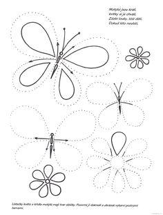 grafomotorika jaro - motýli, květiny