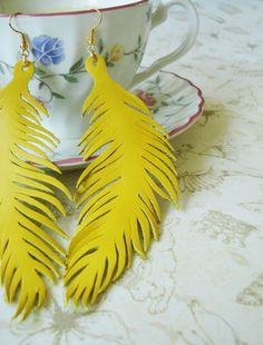 Feather yellow leather