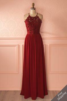 Longue robe de demoiselle d'honneur bourgogne, corselet en dentelle, jupe de toile - Burgundy maxi bridesmaid dress, lace bodice, tulle skirt