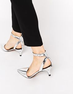 Whistles Aster Silver Crackle Point Toe Heeled Mule Shoes