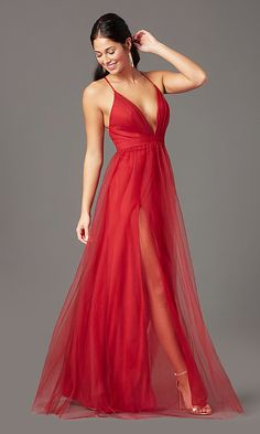 Shop long red formal prom dresses at Simply Dresses. Sexy long tulle dresses for prom, v-neck evening gowns by PromGirl, and open-back formal dresses with double-slit linings and a-line skirts. Red Formal Dresses, Formal Prom, Sexy Dresses, Junior Prom Dresses, Long Prom Gowns, Dress Long, Black Tie Formal, Beautiful Evening Gowns, Stunning Dresses