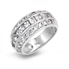 Sterling Silver Princess Cut Pave Round Wide CZ Dome Ring *** Learn more by visiting the image link. Bling Jewelry, Diamond Jewelry, Jewelry Rings, Jewelery, Princess Cut, Wedding Ring Bands, Jewelry Stores, Sterling Silver Jewelry, Engagement Rings