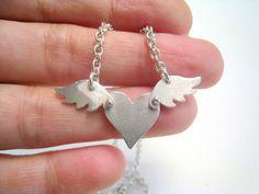 Like a Bird Heart Necklace FREE SHIPPING by meltemsem on Etsy, $65.00