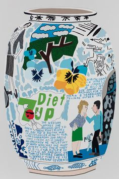 Jonas Wood (American, b. Diet Frimkess Pot, Oil and acrylic on canvas, 114 x 76 in. via Thunderstruck Jonas Wood, Art Curriculum, Pottery Sculpture, Unusual Art, Painting Still Life, Bottle Painting, Thing 1, Graphic Illustration, Illustrations