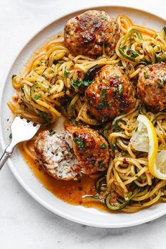 Healthy dinner recipes 835980749559659126 - Garlic Butter Meatballs with Lemon Zucchini Noodles – This easy and nourishing skillet meal is absolutely fabulous in every way imaginable! Steak Recipes, Chicken Recipes, Cooking Recipes, Healthy Recipes, Garlic Recipes, Zoodle Recipes, Cod Recipes, Baker Recipes, Freezer Recipes