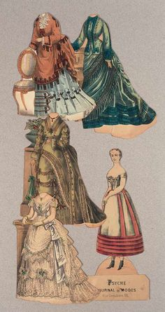 """Paper Dolls, 1790-1940 - The Collection of Shirley Fischer: 46 French Paper Doll """"Psyche"""" with Costumes and Furniture"""