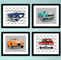 Oh My Gosh!!! Vintage sports cars, cool colors & chevron. Stop my heart! :)  The best part is you can pick your colors!  paperllamas on etsy