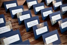 diy place cards - use labels! so smart!  Add swim sticker to the corner