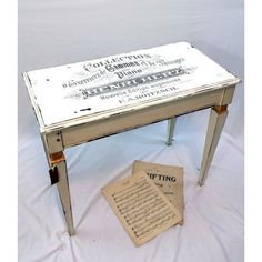 Vintage Piano Bench, White Distressed Vanity Bench with Storage,... ❤ liked on Polyvore featuring home, furniture, benches, piano bench, white vanity bench, music sheet, white painted furniture and painted benches