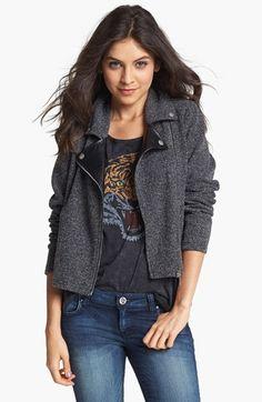 super cute!  Faux leather lapel tweed moto jacket