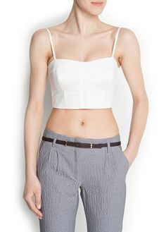 Texture cotton cropped top