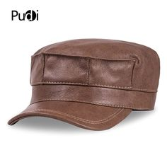 9baef49a HL059 genuine leather men baseball cap hat brand new men's real leather  adult solid adjustable army hats/caps
