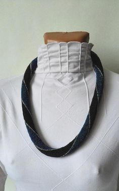 Beaded Necklaces black blue Indigo striped necklace thick