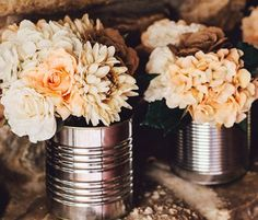 Tin Can Wedding Centerpiece - Affordable and Adorable:17 Wedding Centerpieces Ideas - EverAfterGuide