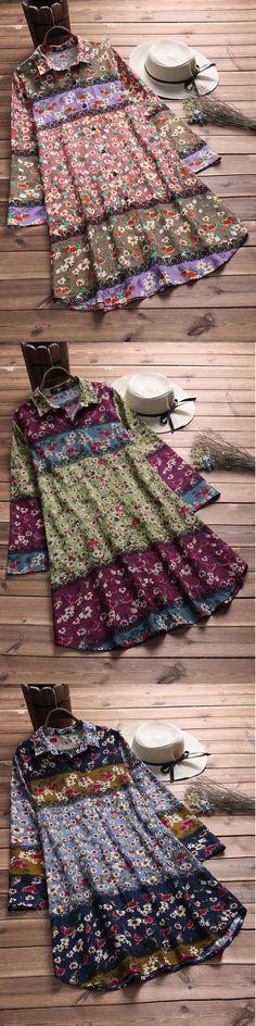 Vintage Floral Printed Long Sleeve Lapel Long Shirt