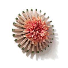 Wood Wreath Clothespin Wreath With Large Peach Dahlia Center