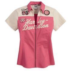 Harley Women's Short Sleeve Woven Colorblocked Shirt