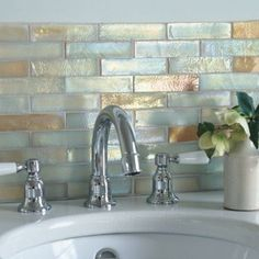 bathroom tiles Iridescent Glass Mosaic - Sandstone Fusion - hand finished  - I love the shimmer in these tiles!