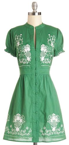 Needlework it Out Dress in Green