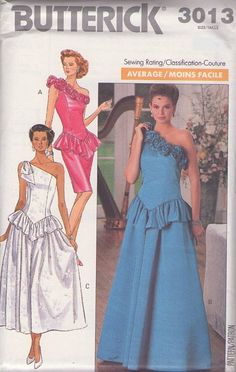 MOMSPatterns Vintage Sewing Patterns - Butterick 3013 Vintage 80's Sewing Pattern DRAMATIC Curve Hugging One Slung Shoulder New Wave Peplum Flounce Cocktail Party Sheath, Wedding Formal Evening Gown Size 12-16