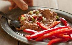 Try+this+red+bean+dip,+spiked+with+lemon+juice+and+garlic+and+garnished+with+colorful+red+peppers,+onions+and+celery.+It's+great+party+food+to+satisfy+everyone,+including+those+in+search+of+veggies.