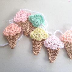 Crochet Ice Cream Garland Crochet Bunting by LittleFoxCrochet Crochet Food, Easter Crochet, Love Crochet, Crochet Motif, Diy Crochet, Crochet Flowers, Crochet Baby, Crochet Patterns, Crochet Bunting