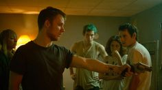 Alia Shawkat, Anton Yelchin, Imogen Poots, Joe Cole, and Callum Turner in Green Room Joe Cole, Horror Movies On Netflix, Best Horror Movies, Good Movies, Horror Film, 2016 Movies, Scary Movies, Action Movies, Punk Rock