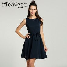 Meaneor Women Chiffon 13 Solid colors Summer Pretty Vestidos Famale elegant Pleated Dress Sleeveless Vest mini Dress With Belt(China (Mainland))